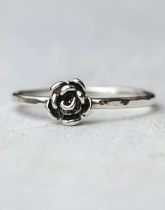 My obsession with rose rings continues. Tiny Rose Sterling Silver Stacking Ring by on Scoutmob Shoppe Other Accessories, Jewelry Accessories, Fashion Accessories, Fashion Jewelry, Ladies Accessories, Cute Jewelry, Jewelry Box, Jewelry Rings, Jewlery