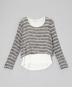 Love this Gray & Cream Stripe Layered Sweater - Girls on #zulily! #zulilyfinds