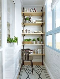 This is the perfect balcony set up when you want to conserve space but at the same time have more shelves that you can put your books and potted plants in, it looks very minimalistic and clean, perfect for a book lover like you.