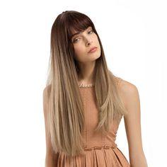 Charming Fluffy Straight Hair Wig High-Temperature Fiber Natural Long Hair Full Wigs Gradual Brown