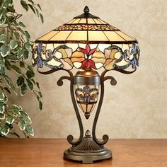 Fleur de Lis Stained Glass Lamp with CFL Bulbs