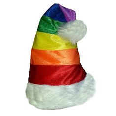 8d32a74b92aa5 Gay Pride Rainbow Santa Cap Rainbow Velour Cap with White Faux Fur Inches  Tall Including Pom Pom