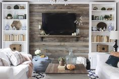 How to Create a Wood Pallet Accent Wall | eHow I think I would rather use #Stikwood.