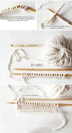 Monter les mailles d 39 un tricot avec un crochet o tricot techniques o pinterest - Monter les mailles tricot ...