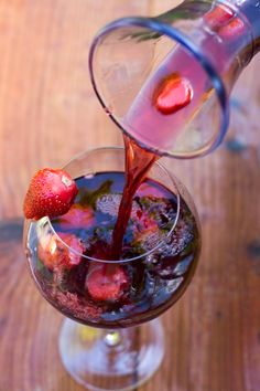 Spring Sangria with strawberries, kiwi & pear brandy