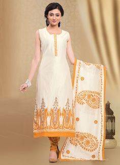 Off White N Orange Chanderi Cotton Straight Suit