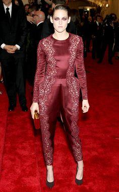 Kristen Stewart in a burgundy Stella McCartney jumpsuit.
