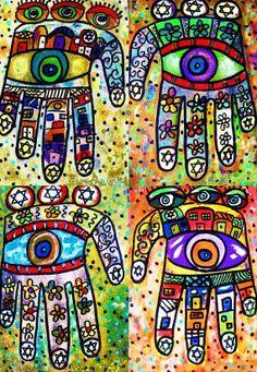 Batik Judaica Hamsas - SILBERZWEIG ORIGINAL Art PRINT - Hand, Good Luck, Protection, Evil Eye, Star of David, Israel, Blessings
