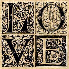 Love    amour letters gothic burlap vintage words print on iron transfer download original gift tag label napkins burlap pillow Sheet n.610. $1.00, via Etsy.