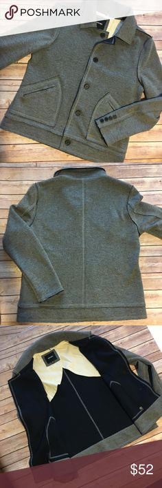 Antony Morato Jacket Gray, lightweight men's jacket. Button front, 2 front pockets. Poly/acrylic/wool blend. Size 52 (XL).  EUC NWOT Antony Morato Jackets & Coats