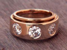 Bague Trilogie or jaune & 3 diamants brillants 1