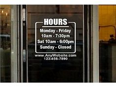 STORE HOURS NAME CUSTOM WINDOW DECAL COMPANY BUSINESS SHOP - Window decals custom business