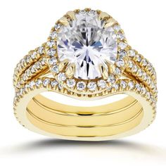 Annello by Kobelli 14k Yellow Gold 3ct Oval Moissanite (HI) and 4/5ct TDW Diamond Halo 3-Piece Bridal Set