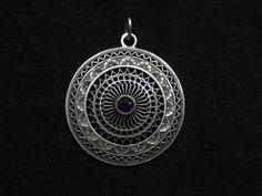 Antique Round Pendant w Glass Stone 800 silver by ChryssalasStore, $30.00