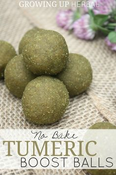 No Bake Turmeric Boost Balls | Growing Up Herbal | My kids LOVE these easy to make herbal cookies that require NO baking! Healthy Treats, Healthy Eating, Healthy Foods, Vegan Foods, Vegan Snacks, Healthy Nutrition, Nutrition Tips, Clean Eating, Herbal Remedies