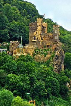 Medieval Castle fortifications along the Rhine river, Burg Rheinstein, Germany