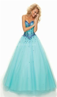 Blue Corset top Prom Dress with Gemstones