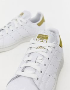24839e2ed03 adidas Originals white and yellow Stan Smith trainers