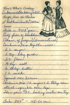 Arkansas Blackberry Cobbler from the kitchen of Debbie's Aunt Nellie Retro Recipes, Old Recipes, Vintage Recipes, Cookbook Recipes, Baking Recipes, Recipies, Family Recipes, 1950s Recipes, English Recipes