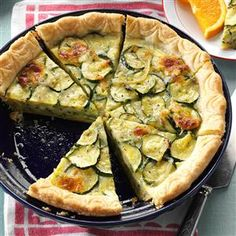 Cheesy Zucchini Quiche Recipe from Taste of Home | This zucchini recipe is quick to prepare and freezes well!