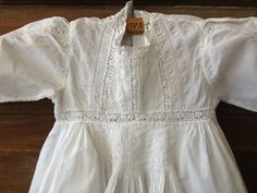 Antique Heirloom Edwardian Fine Cotton Embroidery & Lace Country Baby Christening Gown ~ Baby Doll Dress