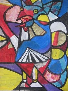 Multi-media Cubist Roosters- follow link to lesson plan.