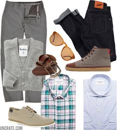 Ledbury Crawford Plaid Shirt ($135). Ledbury Coleman Chambray Shirt ($125). Lacoste Sherbrooke 4 Canvas Shoes ($100). Outlier Ultralight Summer Trouser ($220). Stanton Jean by Rogue Territory ($200). Clae Chambers ($115). Gap Leather Belt ($30). Warby Parker Griffin ($150). Boden Gray Cardigan ($TBA). Ledbury Shirts ($135).