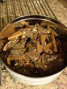 Homemade Toffee Recipe-- Notes: This is delicious and very easy to make.  I cooked this until 300 degrees/ hard crack stage to ensure the toffee was hard and not chewy.