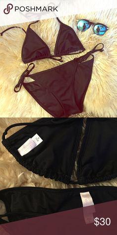 Victoria's Secret Black String Bikini Victoria's Secret Black String Bikini. Both pieces in size small. Excellent condition! Made in Sri Lanka. Victoria's Secret Swim Bikinis