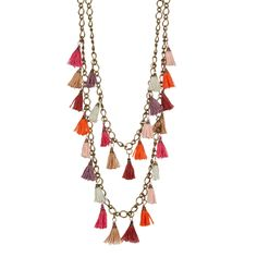 """On-trend tassels and pom poms in gorgeous pink shades make up the perfect go-to Summer necklace. - Lobster clasp - Approx. 28-36"""" graduated lengths - Approx. 1""""L x - 0.5""""W pom poms - Imported"""