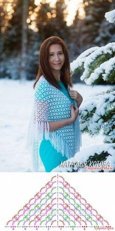 A shawl a hook (master class) - crochet- the Country of Mothers // Irina Kasterina Poncho Au Crochet, Crochet Shawl Diagram, Crochet Stitches Chart, Crochet Shawls And Wraps, Crochet Beanie, Crochet Scarves, Crochet Motif, Crochet Clothes, Free Crochet