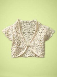 Childs bolero/shrug/cardigan/sweater.Short sleeve. Blue. Baby girl ...