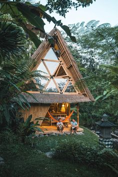 This Serene Bamboo Bungalow Rental Is a Slice of Paradise in Bali - Dwell. Guess we have to go back to BALI Bamboo House Design, Bamboo House Bali, Bamboo Structure, Bamboo Architecture, Sustainable Architecture, Architecture Design, A Frame House, Eco Friendly House, Tropical Houses