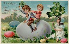 Vintage Easter Tucks 1907 Children Greetings Postcard Card Victorian Embossed #Easter