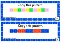 Here's a series of pattern cards for students to recreate. Math Activities For Kids, Preschool Math, Math Classroom, Math Resources, Teaching Math, Teaching Patterns, Math Patterns, Patterning Kindergarten, Kindergarten Lessons