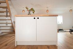 Cut-out handle detail in bespoke Scandi style kitchen cabinet door - Sheffield…
