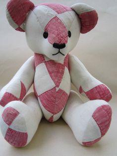 Handmade...Old patchwork quilt...Teddy Bear