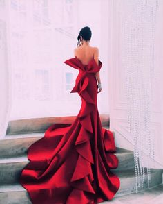 Red Mermaid Portrait Prom Dresses Sexy Off Shoulder Big Bow Zipper Backless Celebrity Party Gowns Dubai Satin Chapel Train Evening Gowns Evening Dresses, Prom Dresses, Formal Dresses, Dress Prom, Beautiful Gowns, Beautiful Outfits, Elegant Dresses, Pretty Dresses, Glamorous Dresses