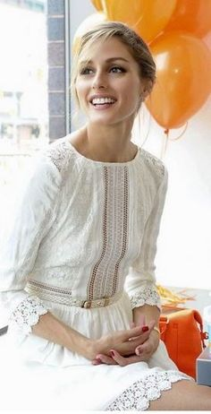 Olivia Palermo, white lace dress