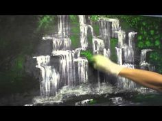 Finger Painting Demo, Waterfall Painting, How to Paint, Waterfall, Acrylic, Acrylics, Painting