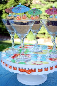 Placing these summer cupcakes in a clear glass adds elegance to this classic treat. Enjoy by the swimming pool or serve at your next party!