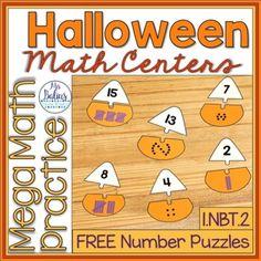 Halloween Math Centers | First Grade NBT.2 FREEBIE | Math Puzzles by Mrs Balius Centers First Grade, Math Centers, Number Puzzles, Maths Puzzles, Math 8, Halloween Math, 1st Grade Centers, Math Puzzles Brain Teasers