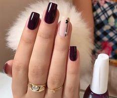 Trendy Nails, Cute Nails, Short Square Nails, Short Nails, Burgundy Nails, Colorful Nail Designs, Nagel Gel, Pink Nails, Nails Inspiration