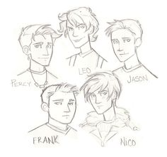 The boys: Percy Jackson, Jason Grace, Leo Valdez, Frank Zhang and Nico Di Angelo. /// Nico with short hair: yes! << I just love this person's style and characterization! Percy Jackson Fandom, Percy Jackson Fan Art, Rick Riordan, Jason Grace, Percabeth, Solangelo, Magnus Chase, Dibujos Percy Jackson, Oncle Rick