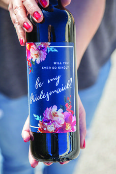 Ask your girls ever so kindly with custom wine labels . - wine proposal - bridesmaid proposal - will you be my - bridesmaid wine - ask bridesmaid - be my bridesmaid