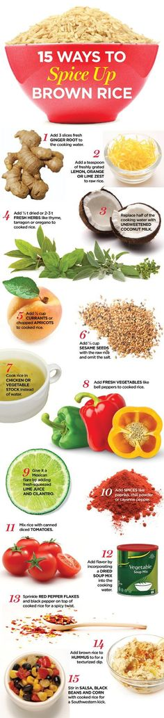 15 ways to spice up brown rice...#healthytip #food