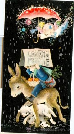 Detalle de la imagen de -... navidad FERRANDIZ (Niño con animalitos) 1965 (Postales - Navidad