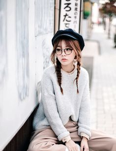 Ideas For Glasses Korean Girls Ulzzang Fashion Kawaii Fashion, Cute Fashion, Look Fashion, Fashion Beauty, Girl Fashion, Fashion Outfits, Womens Fashion, 30s Fashion, Fashion Styles