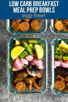 Start the day off right with these low carb breakfast meal prep bowls! Sautéed portobello mushrooms are served with asparagus, zucchini, red onion and Italian sausage, all with just 8 g net carbs. Best Breakfast Recipes, Low Carb Breakfast, Breakfast Bowls, Heart Healthy Recipes, Low Carb Recipes, Diet Recipes, Paleo Meals, Diet Meals, Crockpot Meals