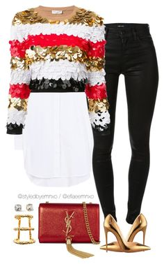 """Merry Christmas!"" by efiaeemnxo ❤ liked on Polyvore featuring Balenciaga, J Brand, Sonia Rykiel, Christian Louboutin, Paula Mendoza, Yves Saint Laurent, Kate Spade, sbemnxo and styledbyemnxo"